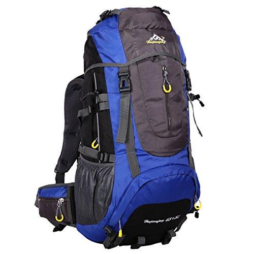 HWJIANFENG 65+5L Mochilas de Senderismo Hombre Portatil Impermeable de Nilon Mochilas de Excursion para Viajes Mochilas Unisex Azul