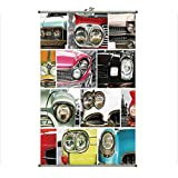 iPrint Wall Hanging Picture Wall Scroll Poster Fabric Painting,Retro Automobile Collage Bumper