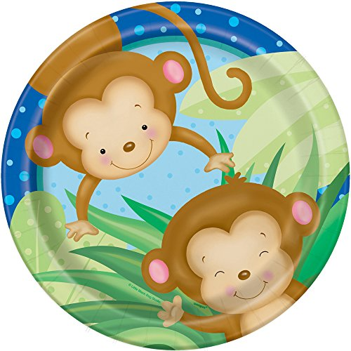 Boy Monkey Baby Shower Dinner Plates, 8ct