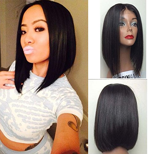 Vanessa Queen Short Cut Bob Wigs For Black Women Silky Straight Synthetic Lace Front Wig 12Inch (Wigs For Black Women)