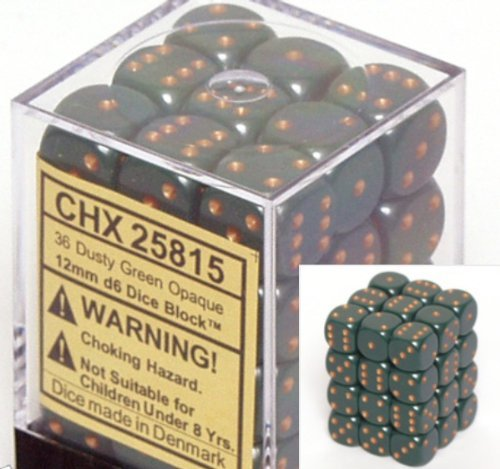 Dusty Green 12mm D6 Opaque Dice Block of 36