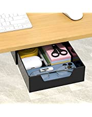 $22 » NIUBEE Under Desk Drawer, Black Acrylic Slide Out Table Adhesive Drawer Organizer for Pencil, Hanging Desk Storage for Office School Bedroom Home