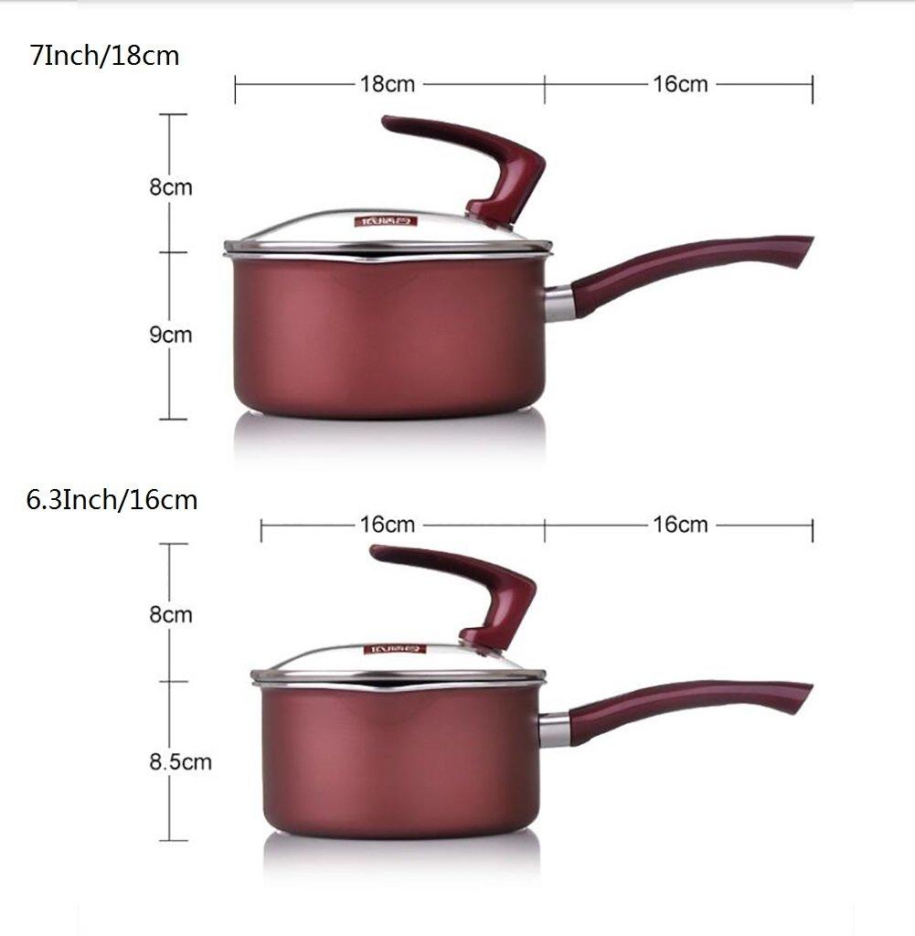 El LE Ollas de cocina, olla de aleación de aluminio con tapa de vidrio, calentando porciones líquidas más pequeñas/7/pulgadas/18cm,D: Amazon.es: Hogar