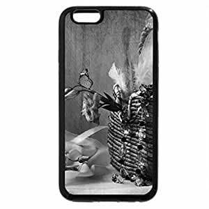 iPhone 6S Plus Case, iPhone 6 Plus Case (Black & White) - Purple Flowers