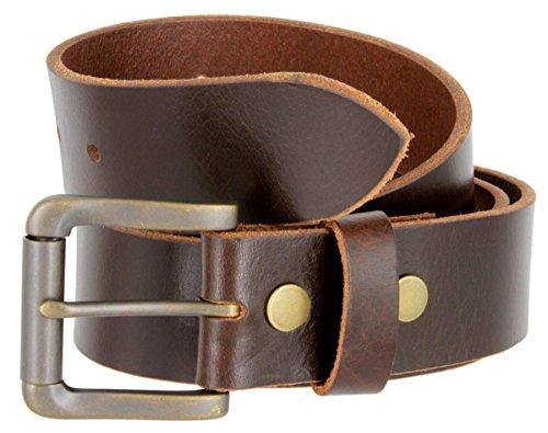 - Mens Casual Full Grain One Piece Genuine Buffalo Leather Jean Belt In Brown