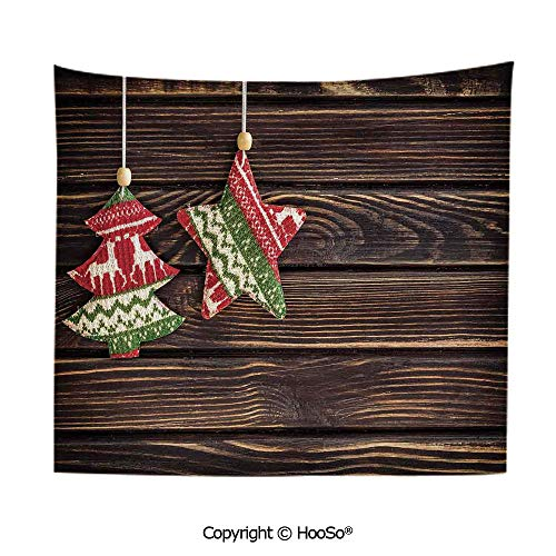 Durable Washable and Reusable tapestry wall hanging carpet 59x79in,Retro Pine Tree and Star Shaped Banner on Rustic Panel Shabby Ornaments Design,Brown Green Comfy and No Strange Odor home decor