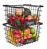 BirdRock Home Stacking Wire Market Baskets with Chalk Label - Set of 2 - Fruit Vegetable Produce Metal Storage Bin for Kitchen Counter - Black