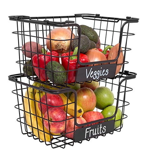 BIRDROCK HOME Stacking Wire Market Baskets with Chalk Label - Set of 2 - Fruit Vegetable Produce Metal Storage Bin for Kitchen Counter - Pantry Cabinet - Bathroom Shelves - Black