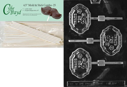 Cybrtrayd 45St25-M026 Thank You Lolly Miscellaneous Chocolate Candy Mold with 25-Pack 4.5-Inch Lollipop Sticks