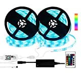 WiFi LED Strip Lights Works Alexa, 10M/32.8ft RGB Smart Phone Controlled Light Strip Kit 300 LEDs 5050 Waterproof IP65 Dimmable Lighting IR Remote, Sync Music, via Android/iOS Google