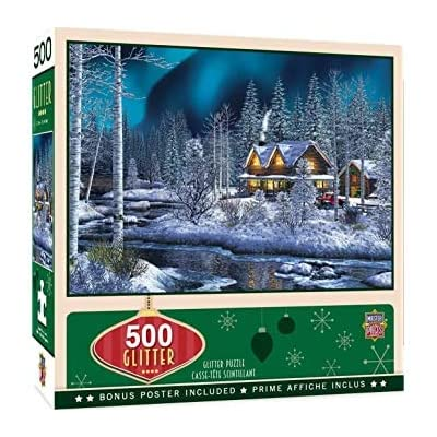 MasterPieces Holiday - Northern Lights 500-Piece Glitter Jigsaw Puzzle: Toys & Games