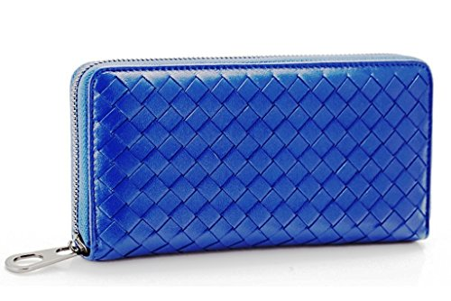 Brilliance Co Lambskin Genuine Leather Wallet for Women Woven Knitted, Dark Blue ()