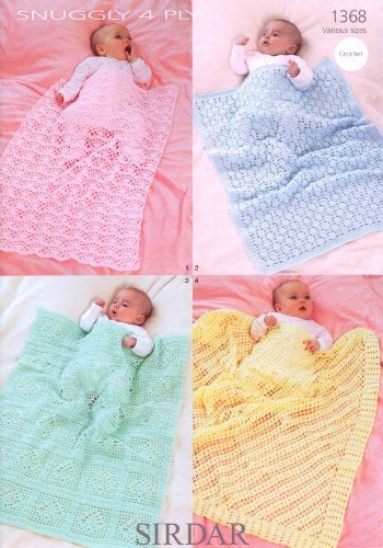 Sirdar Snuggly 4PLY Baby Shawl Blanket Crochet Pattern 1368: Amazon ...