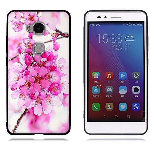 Funda Huawei Honor Play 5X GR5, FUBAODA [Flor rosa] caja del teléfono elegancia contemporánea que la manera 3D de diseño creativo de cuerpo completo protector Diseño Mate TPU cubierta del caucho de si pic: 01