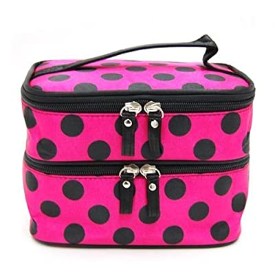 DEDC Double Layer Cosmetic Bag Rose Red with Black Dot Travel Toiletry Cosmetic Makeup Bag Organizer With Mirror