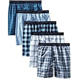 Hanes Men's 5-Pack Tagless, Tartan Boxer with Exposed Waistband,Assorted, Small