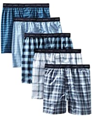 Hanes Men's 5-Pack Tagless Tartan Boxers with Exposed Waistband