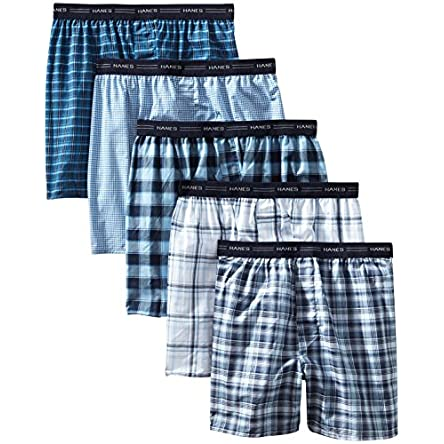 Hanes Men's Tagless Tartan Boxer with Exposed...