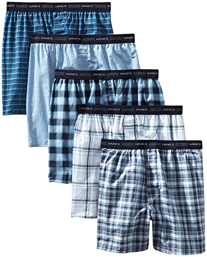 - Hanes Men's 5-Pack Tagless, Tartan Boxer with Exposed Waistband, Assorted, X-Large