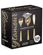 120 CT Combo Polished Rose Gold Like Forks, Heavyweight Plastic Cutlery - Hammered Effect Design Plastic Silverware