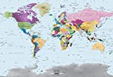 Academia Maps World Map Wall Mural - Modern Colorful Map - 53 x 36 - Premium Self-Adhesive Fabric - Professional-Grade DIY