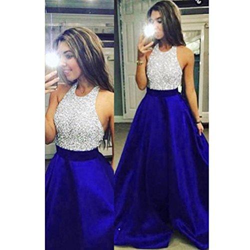 Hemlock Formal Prom Party Dress Long Sleeveless Halter Sequins Graduation Ceremony Dress Ball Gown (L, Blue)