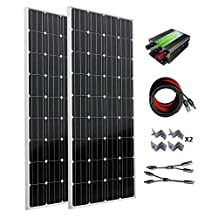 ECO-WORTHY 300W Monocrystalline 12v 24v Off Grid Battery Charging Solar Panel Kit: 2pcs 160W Mono Solar Panels+30A Charge Controller+Solar Cable+MC4 Branch Connectors Pair+Z Bracket Mounts