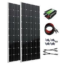 ECO-WORTHY 300W Monocrystalline 12v 24v Off Grid Battery Charging Solar Panel Kit: 2pcs 160W Mono Solar Panels+45A Charge Controller+Solar Cable+MC4 Branch Connectors Pair+Z Bracket Mounts