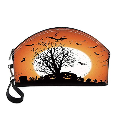 Vintage Halloween Small Portable Cosmetic Bag,Grunge Halloween Image with Eerie Atmosphere Graveyard Bats Pumpkins For Women,One size]()