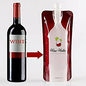 Unbreakable Foldable Wine Bottle 2go Bag - Collapsible Flexible Plastic Alcohol Flask Best For Drinking Booze or Red & White Vino On The Go - Great Alcohol Travel Accessories Gift For Wine Lovers
