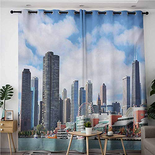 VIVIDX Sliding Door Curtains,Chicago Skyline Cloudy Sky on City Contemporary Downtown States Country Office Panorama,Energy Efficient, Room Darkening,W72x84L,Multicolor -