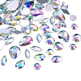 big clear gems - Hicarer 108 Pieces AB Clear Gems Acrylic Sew On Rhinestones Faceted Flatback Crystal Buttons for Clothing Dress Decorations