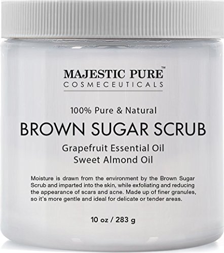 Majestic Pure Brown Sugar Scrub, Natural Exfoliator - Facial and Body Scrub for Cellulite, Stretch Marks, Acne, and Varicose Veins, 10 oz