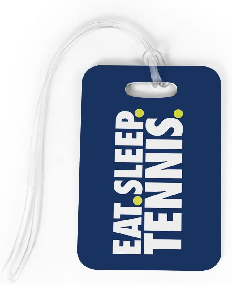 Tennis Luggage & Bag Tag | Eat Sleep Tennis | Custom Info on Back | MEDIUM | NAVY