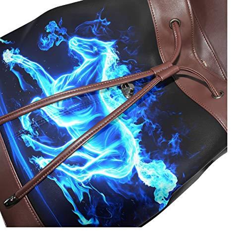 Kvinnor PU-läder löpning häst blå ryggsäck handväska resa skola axelväska ledig dagväska