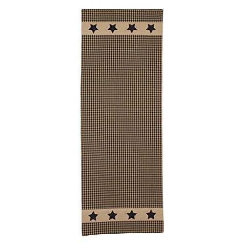 - Colonial Black Barn Star on Country Check 13 x 36 Burlap Applique Table Runner