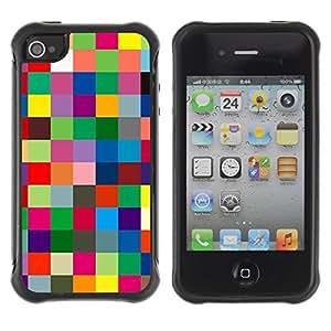 LASTONE PHONE CASE / Suave Silicona Caso Carcasa de Caucho Funda para Apple Iphone 4 / 4S / Checkered Vibrant Colors Texture
