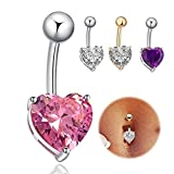 Codear 4 Pcs --14G Heart Belly Button Ring Sexy Sparkly Zirconia Navel Bars Body Piercing Jewelry Good Choice for Gift Prom Dance Party