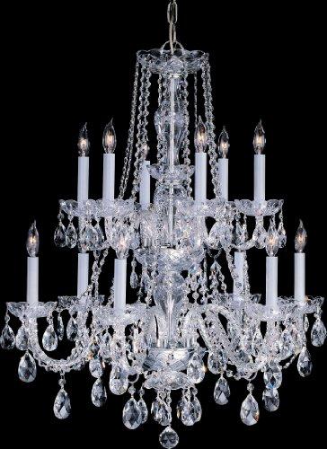 Crystorama 1137-PB-CL-MWP, Traditional Crystal Chandelier Lighting, 12 Light, 480 Watts, Brass (Cl Pb Mwp Chandelier)