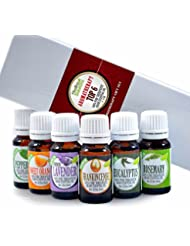 Aromatherapy Top 6 - 100% Pure Therapeutic Grade Basic Sampler Essential Oil Gift Set- 6/10 ml Kit
