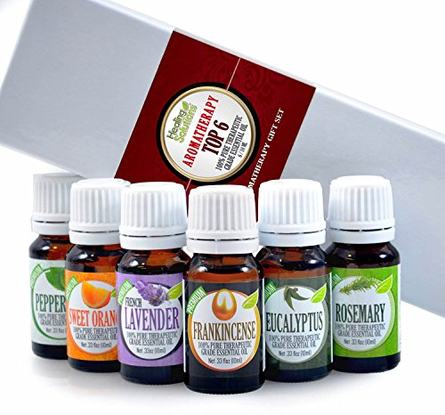 Healing Aromatherapy (Aromatherapy Top 6 - 100% Pure Therapeutic Grade Basic Sampler Essential Oil Gift Set- 6/10 ml Kit)