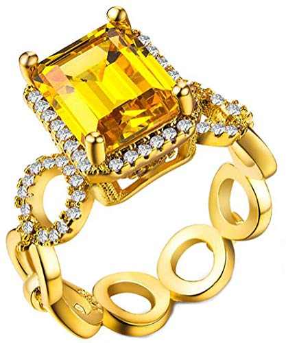 14k Yellow Gold Plated Emerald Cut Canary Yellow CZ Fashion Cocktail Party Ring,Size 8