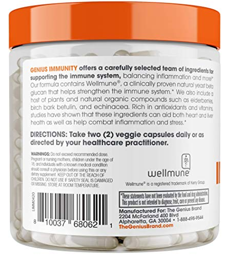 Immune Support Supplement w/ Elderberry Extract, Vitamin C, & Echinacea –Daily Immunity Booster for Adults – Boost Healthy Stress Response, Plus Respiratory System Defense - 60 Capsules/Pills