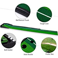Indoor Golf Putting Mat with 2 Holes And Ball Auto Return, 9.84 Feet Long GPE01