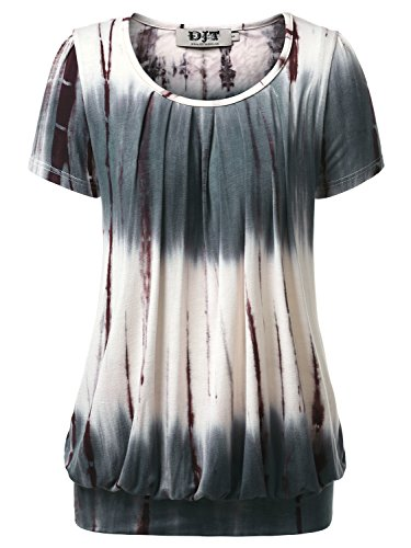 (DJT Women's Short Sleeve Pleated Front Blouse Tunic Top Medium Tie Dye Coffee)