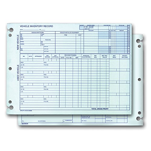 Vehicle Inventory Records - 2 Sided (Form# A-532 (Blue Ink))