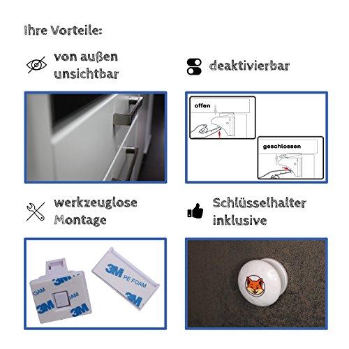Schranksicherung 2 x Schlüssel für Magnetische Kindersicherung unsichtbar