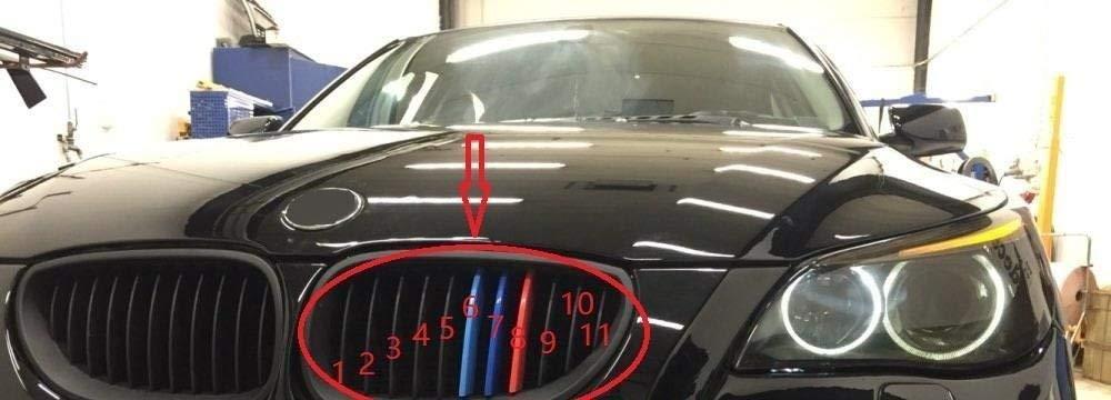 Lot de bandes de sport 3D M style pour grille avant de voiture pour mod/èles 2004-2010 5 E60