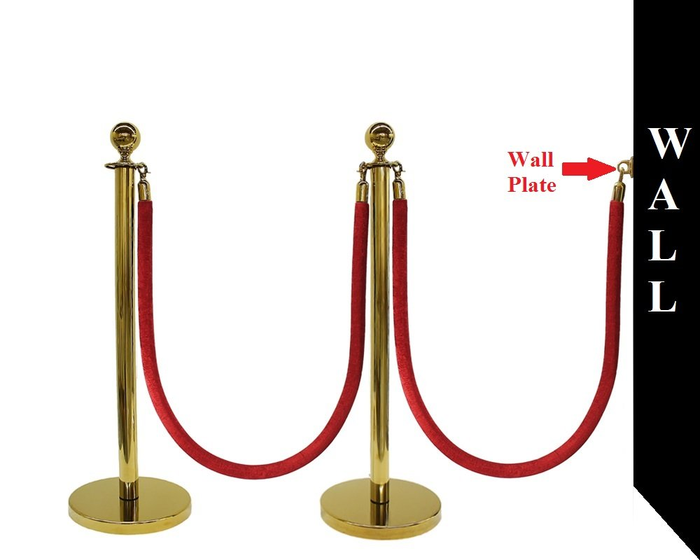 5 PCS ROPE STANCHION SET, CROWN TOP AND GOLD POLISH S.S. 12'' FLAT BASE