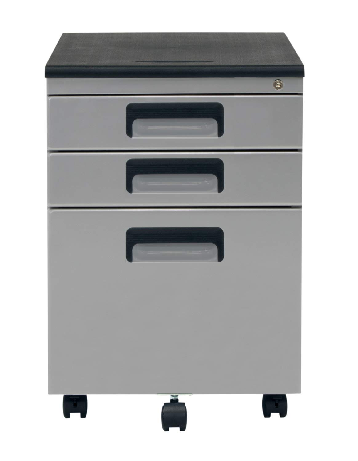 Offex 3 Drawer Metal Rolling File Cabinet with Locking Drawers - Silver/Black